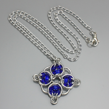 Celtic Diamond Pendant- Chainmaille with glass- Aluminum/Cobalt Red