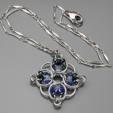 Celtic Diamond Pendant- Chainmaille with glass- Aluminum/Sapphire/Blue Iris