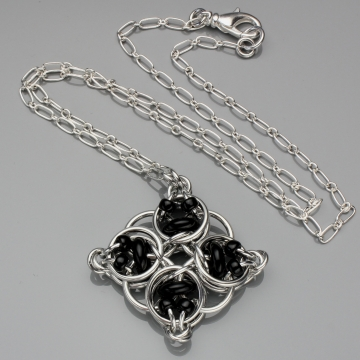 Celtic Diamond Pendant- Chainmaille with glass- Aluminum/Black