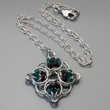 Celtic Diamond Pendant- Chainmaille with glass- Aluminum/Garnet/Teal