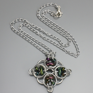 Celtic Diamond Pendant- Chainmaille with glass- Aluminum/Green Iris