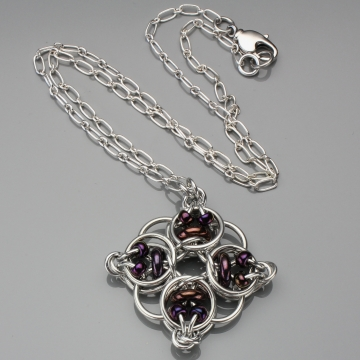 Celtic Diamond Pendant- Chainmaille with glass- Aluminum/Purple Bronze