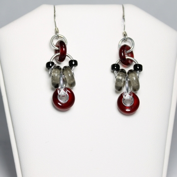 Decadent Confection Mini Earrings- Chainmaille with glass- Aluminum/Garnet/Smoke