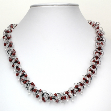 Decadent Confection Necklace- Chainmaille with glass- Black/Crystal/Red