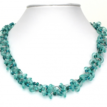 Decadent Confection Necklace- Chainmaille with glass- Aluminum/Aqua/Teal