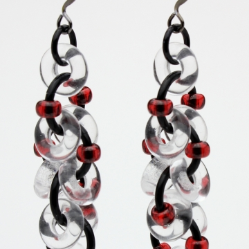 Decadent Confection Earrings- Chainmaille with glass- Black/Crystal Clear/Red