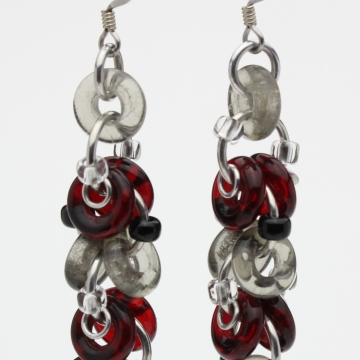 Decadent Confection Earrings- Chainmaille with glass- Aluminum/Garnet/Smoke
