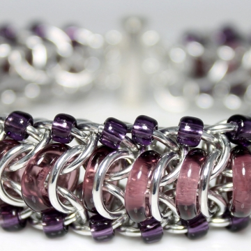Glass Caterpillar Bracelet- Chainmaille with glass- Aluminum/Amethyst/Purple