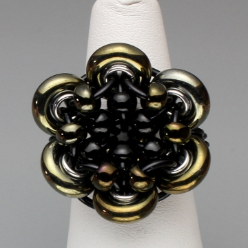 Glistening Bloom Ring- Chainmaille with glass- Black/Bronze Iris