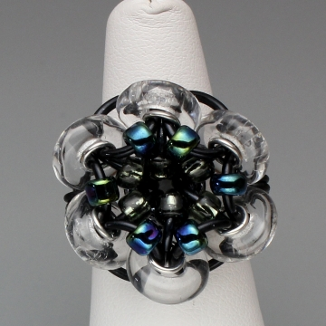 Glistening Bloom Ring- Chainmaille with glass- Black/Clear/Blue Iris