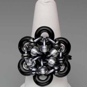 Glistening Bloom Ring- Chainmaille with glass- Black/Black Ice/Gunmetal