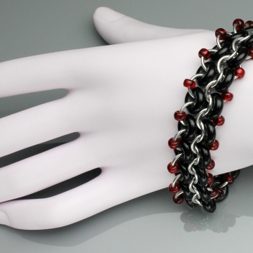 Racing Stripe Bracelet- Chainmaille with glass- Aluminum/Black/Red